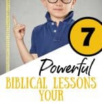 Little boy pointing to measuring tape. TItle: 7 Biblical lessons for a short child