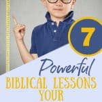 Little boy in blue pointing to a measuring tape. Title - 7 powerful biblical lessons for a short child