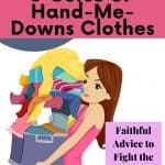 Overwhelmed mom carrying a huge pile of hand me down clothes