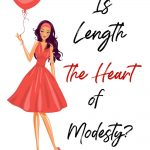 Woman in red skirt with heart balloon. Title- Is length the heart of modesty?