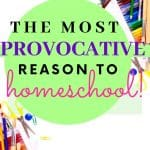 School supplies on white background. Title - My Most Provocative Reason to Homeschool