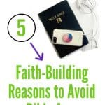 Bible vs Cell Phone - Faith-Building Reasons to Avoid Bible Apps with a Bible with a Phone on top of it.