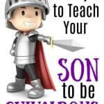 little boy knight holding sword - title: 7 steps to teach your son to be chivalrous