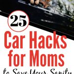 A little boy and girl hanging out the driver's side window smiling. Title - 25 Mom Car Hacks to Keep Your Family Rolling