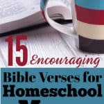 cup of warm coffee and an open Bible - title encouring bible verses for homeschool moms