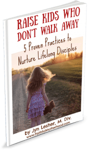 Girl walking away with bear in hand. Title: Raise Kids Who Don't Walk Away - 5 Proven Practices to Nuture Lifelong Disciples
