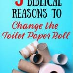 Blue background with empty toilet paper rolls. Title: 9 biblical reasons to change the toilet paper roll