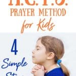 Little girl in blue praying - title - simple 4 step acts prayer method for kids