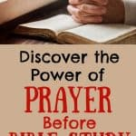 Open Bible with praying hands. Title: Discover the power of prayer before bible study