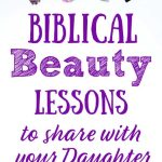 Title: Biblical Beauty Lessons to share on white background with colorful makeup