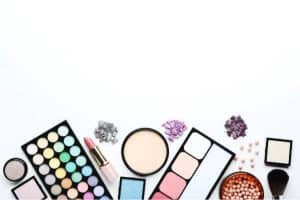 Beauty products on a white background
