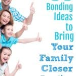 Family peeking from behind wall, tallest to shortest. Title: 33 bonding ideas to bring your family closer together