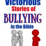 Two gray figures talking about an upset red figure - title 3 victorious stories of bullying in the Bible