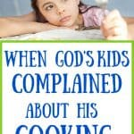 Girl sadly staring at broccoli. Title: when God's kids complained about his cooking