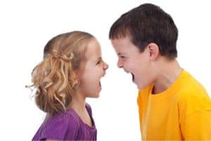 Siblings yelling at each other